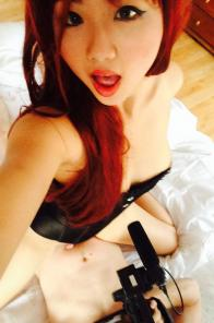 Harriet Sugar Cookie taking selfies with a dick in her hand