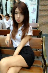 Sexy Thai university schoolgirl students in uniform