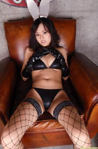 Sora Aoi in black stockings with cute bunny ears