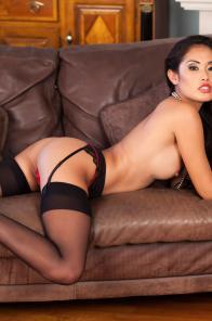 Petite Asian Beverly Naked in Black Stockings